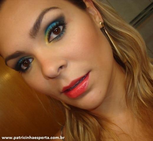 007post - Tutorial - Maquiagem Azul e Dourado para Baladas e Festas