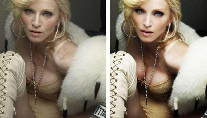 Madonna Antes e Depois Photoshop - Photoshop, a Varinha de Condão!