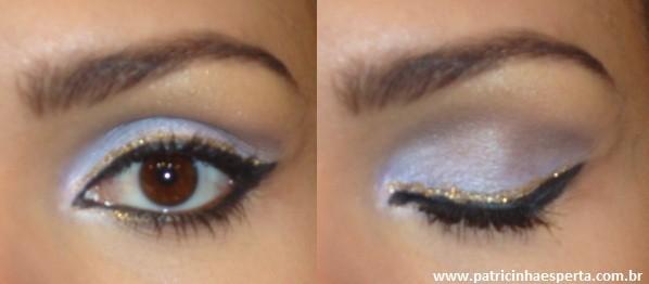 025post1 - Tutorial - Maquiagem lilás com delineado preto e dourado (glitter)