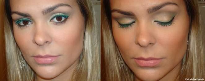 039post1 - Maquiagem com delineado preto e verde + rímel verde