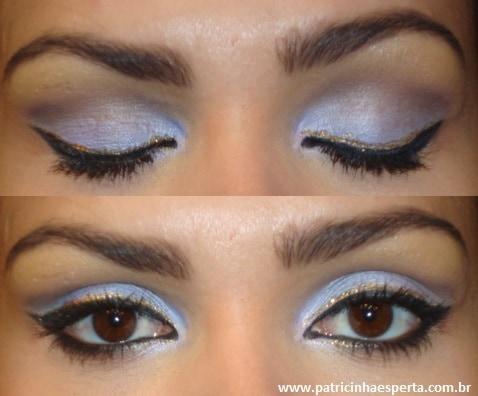042post - Tutorial - Maquiagem lilás com delineado preto e dourado (glitter)
