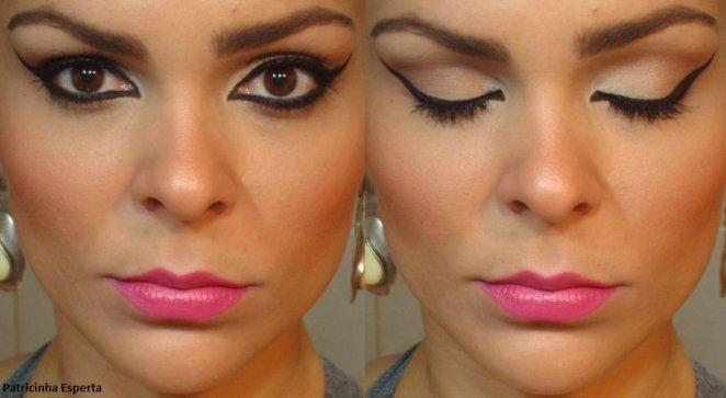 0821 - Maquiagem com Delineado Marcante e Boca Pink