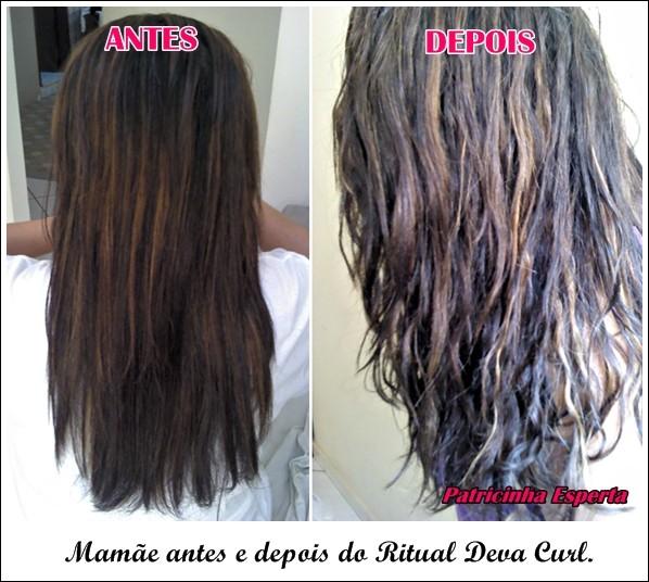 1 ANTES E DEPOS1 - Como Cachear Cabelos Alisados com Deva Curl – Cacheando a Mamãe