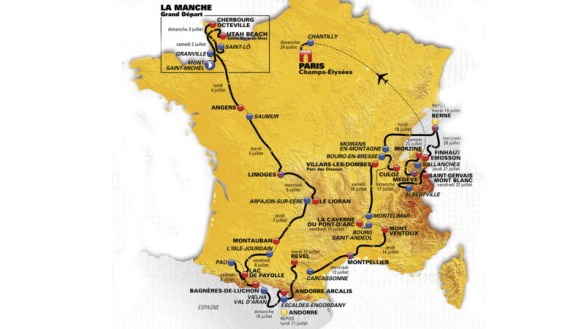 Kaart Tour de France 2016. Bron: ASO