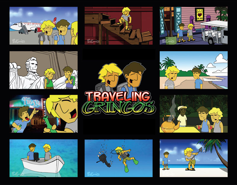 traveling gringos is the semi real life animated travel adventures of myself and my friend eric i created a pilot episode in 2002 that was about 5 minutes