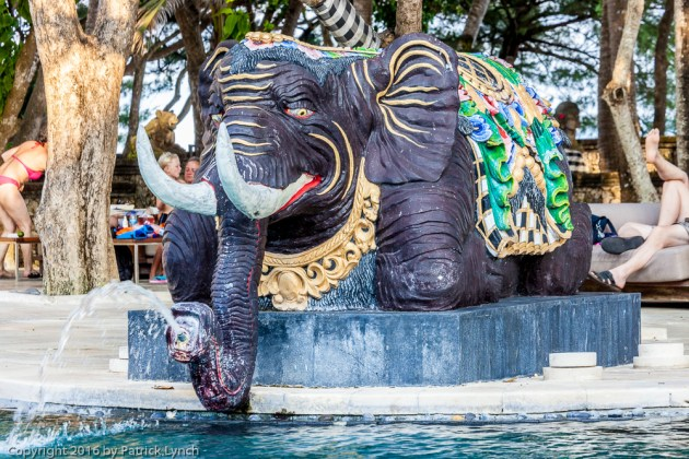 Pool at first hotel, the elephant a figure of wisdom in Bali