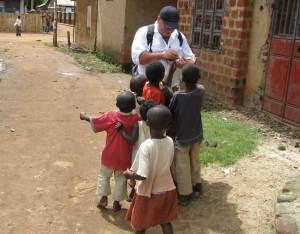 Ugandan children eating candy