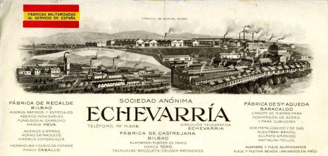 S. A. Echevarría. Las fábricas de Rekalde en Bilbao y de Santa Águeda en Barakaldo, en un membrete de una carta fechada en 1938, en plena Guerra Civil.