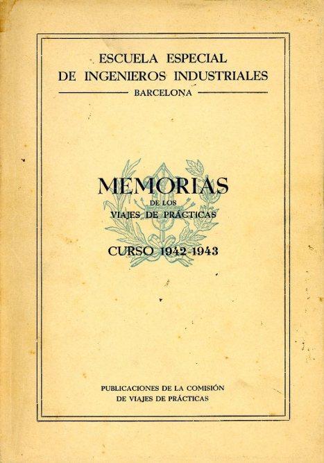 Portada de la Memoria del viaje de estudios de los alumnos de la Escuela de Ingenieros Industriales de Barcelona