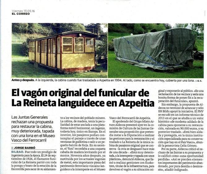 Diario El Correo. 13 de mayo de 2016