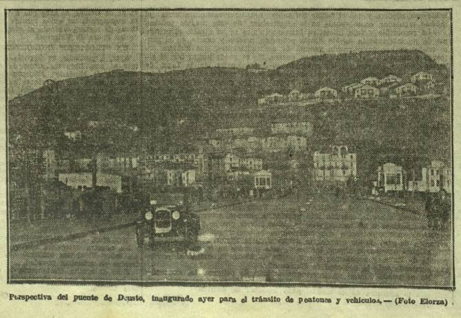 El puente de Deusto en una fotografía tomada el día de su apertura al tráfico el 13 de diciembre de 1936. (Foto gentileza de Jesús Moreno)