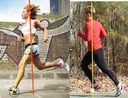 Poor running form on the left, proper form on the right
