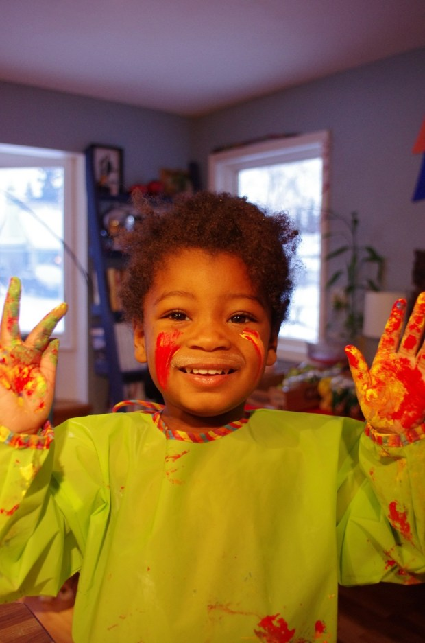 fun times painting everything, including herself, on saturday morning.