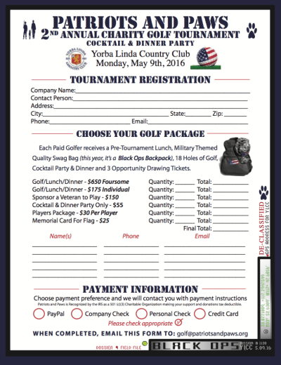 2016 Golf Tournament Registration Form and Schedule