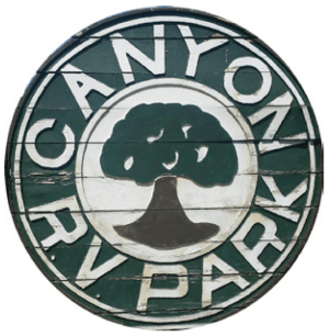 Canyon RV Park Wood Sign