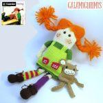 Pippi Calzaslargas y su Mono en amigurumi