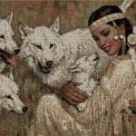 India con lobos en punto de cruz
