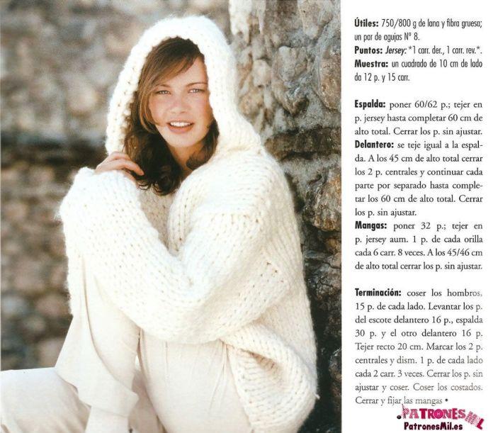 patrón de este bonito y abrigado jersey blanco con capucha para otoño e invierno.