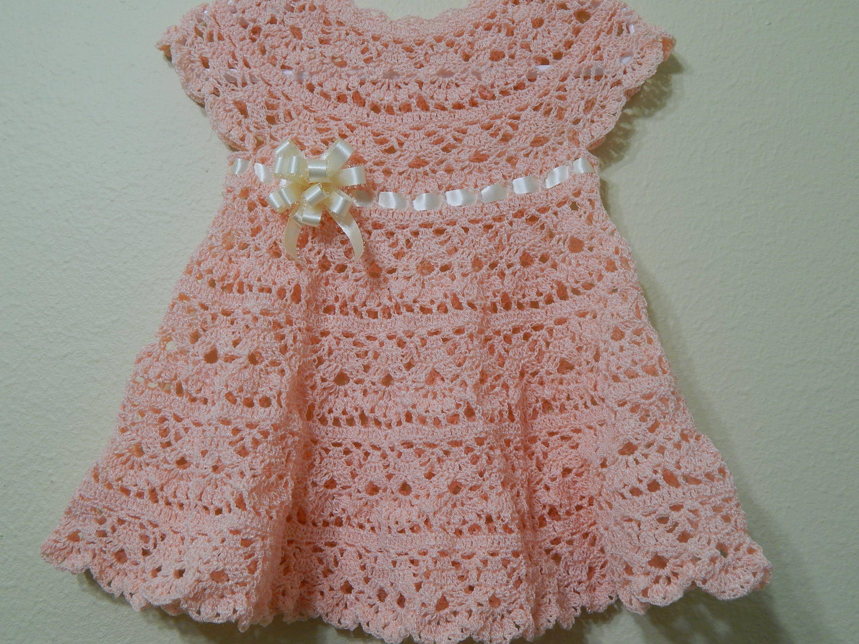 Hermosa Patrón De Vestido De Crochet Libre Recién Nacido Imagen ...