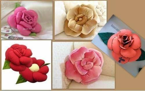 almohada o cojin en forma de rosa