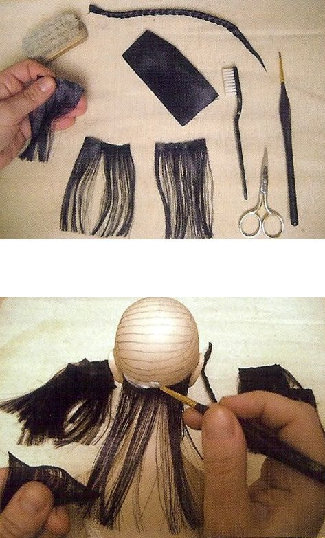 como poner el pelo de las muñecas