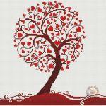 Árbol de hojas en forma de corazón a punto de cruz