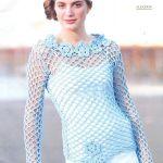 Jersey de red en color celeste tejido a crochet