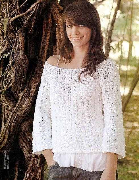 Suéter fantasía escote bote - Patrones gratis