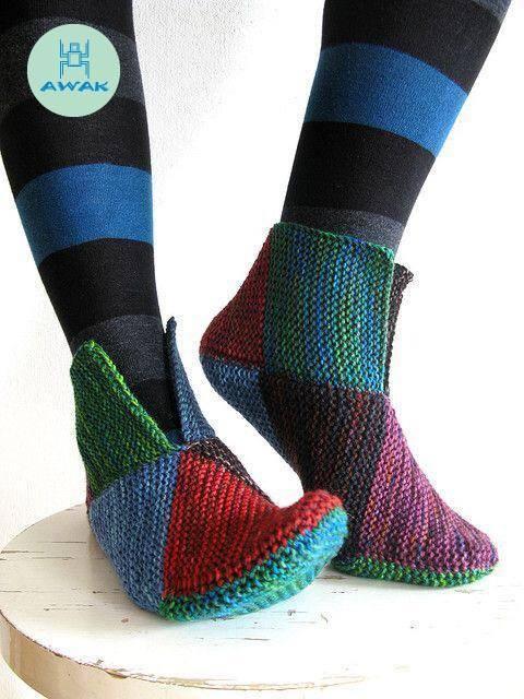 Zapatillas a crochet cuadrados - Patrones gratis