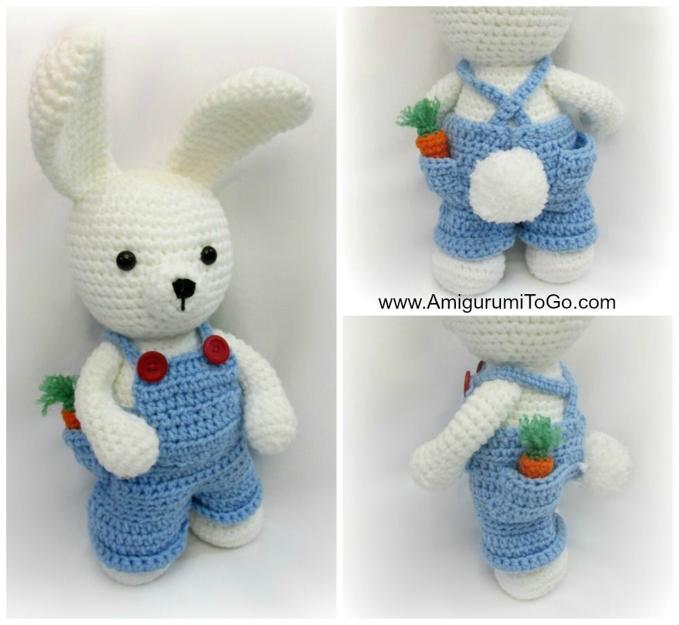 Conejito blanco vestido con peto - Patrones gratis