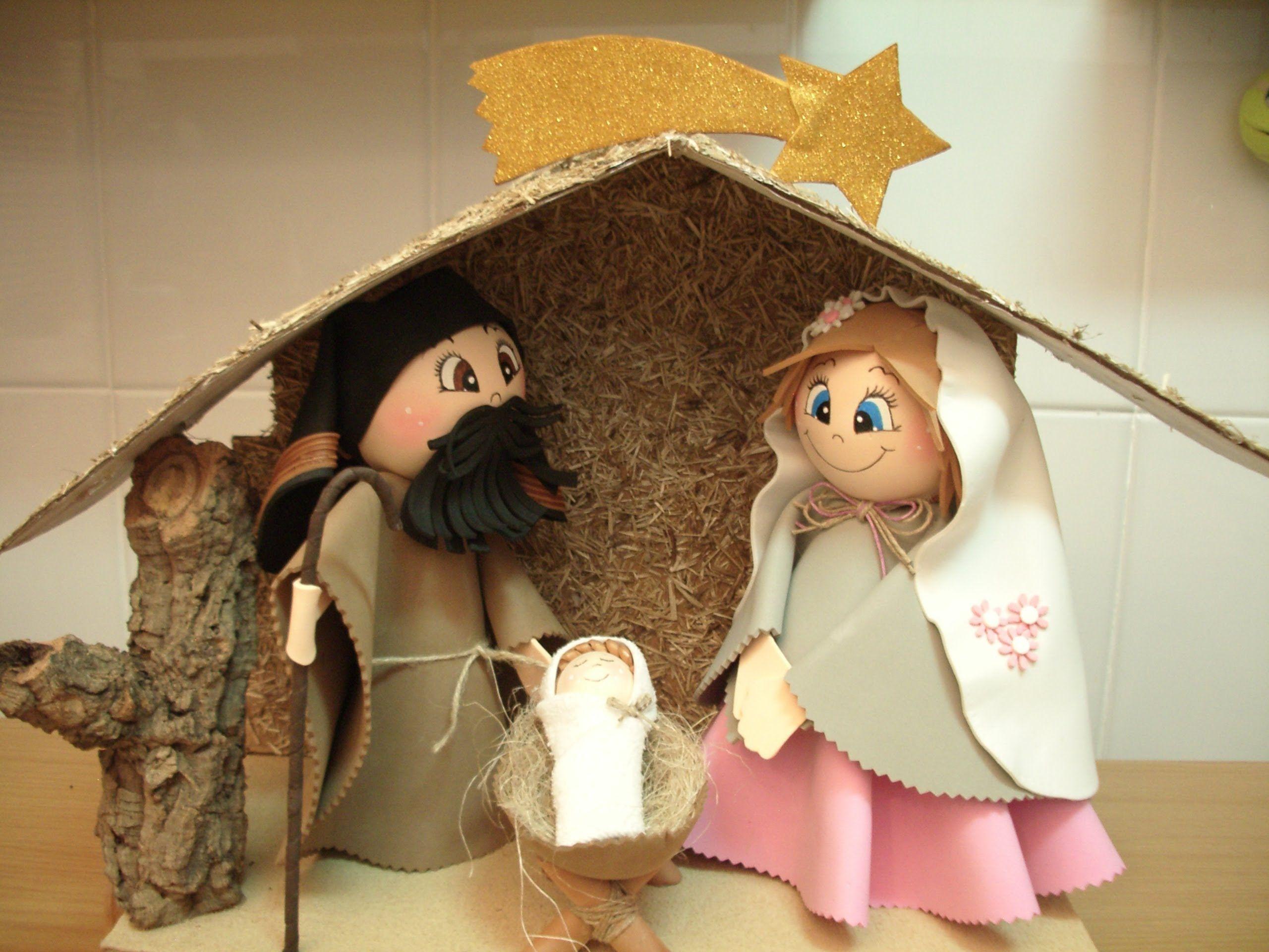 Como hacer un bel n o nacimiento de navidad en goma eva - Casas para belenes hechas a mano ...