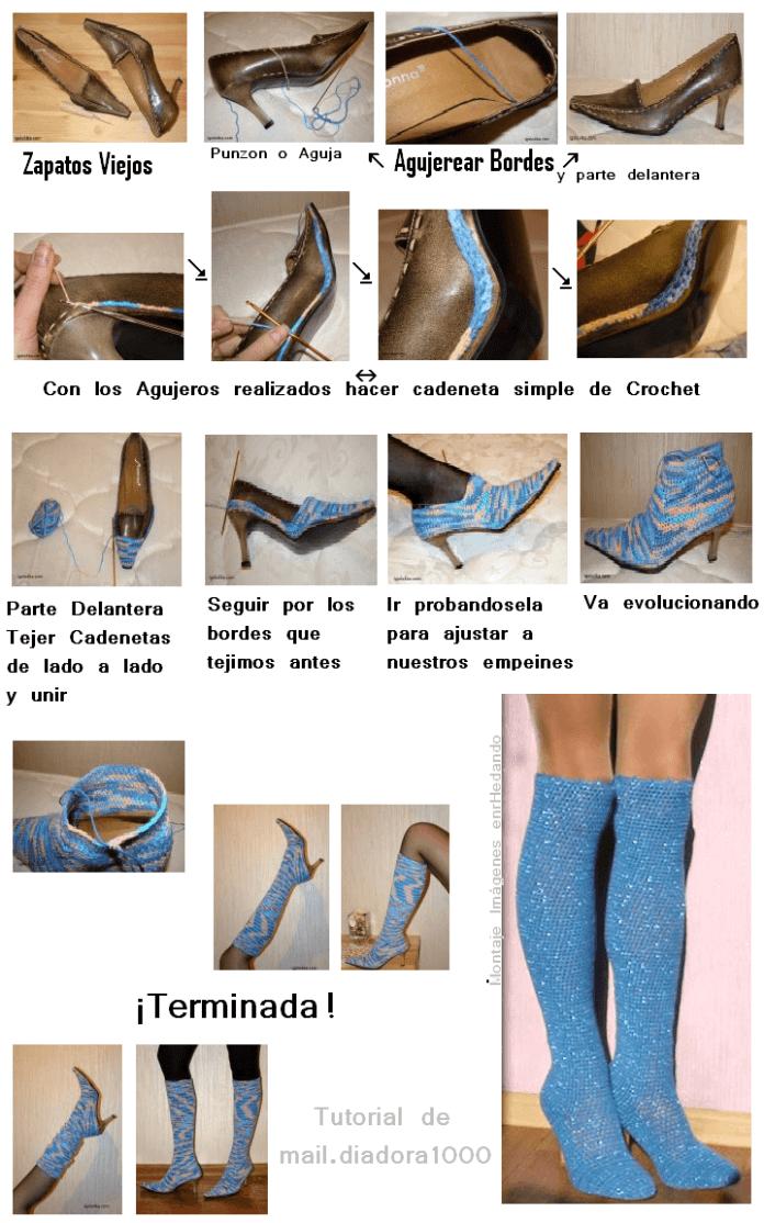 transformar unos Zapatos en Botas tejiendolas a crochet 2