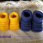 Patucos de bebé en dos agujas