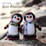 Pingüino hecho con calcetín