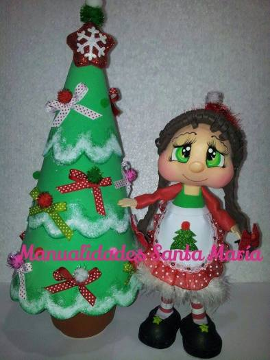 santa con arbol de navidad