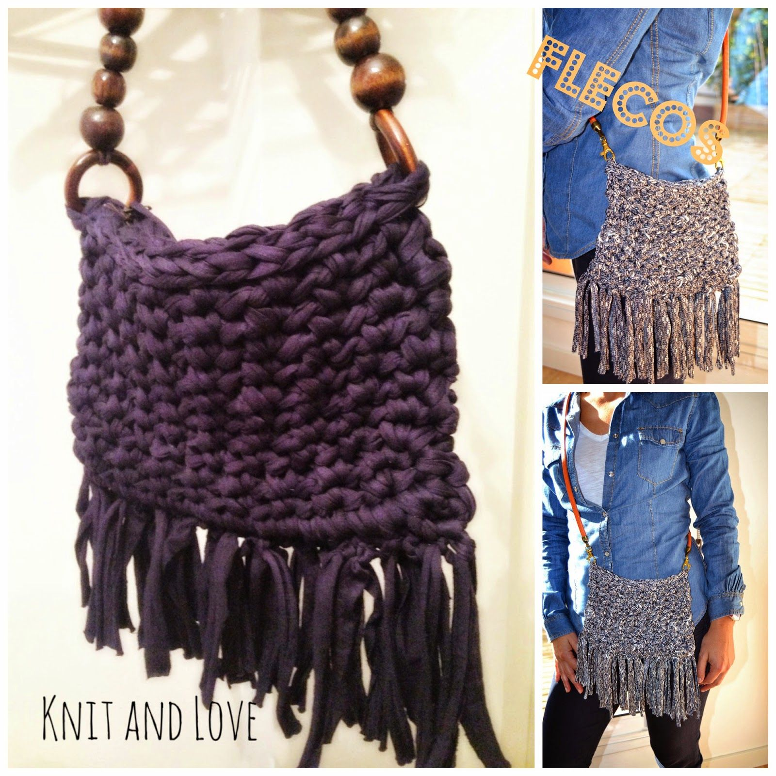 Bolso bandolera de trapillo con flecos patrones gratis for Bolso crochet trapillo