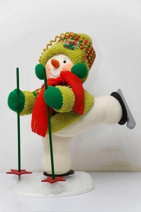 Muñeco de nieve esquiador - Patrones gratis