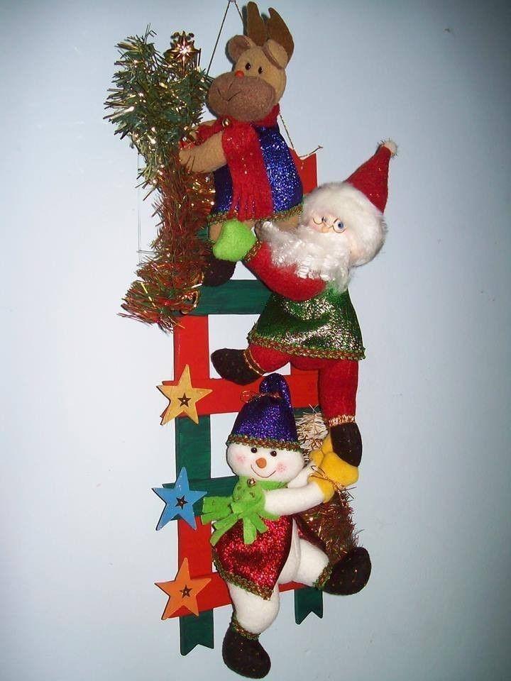 Mu ecos de nieve en escalera patrones gratis - Manualidades munecos de navidad ...