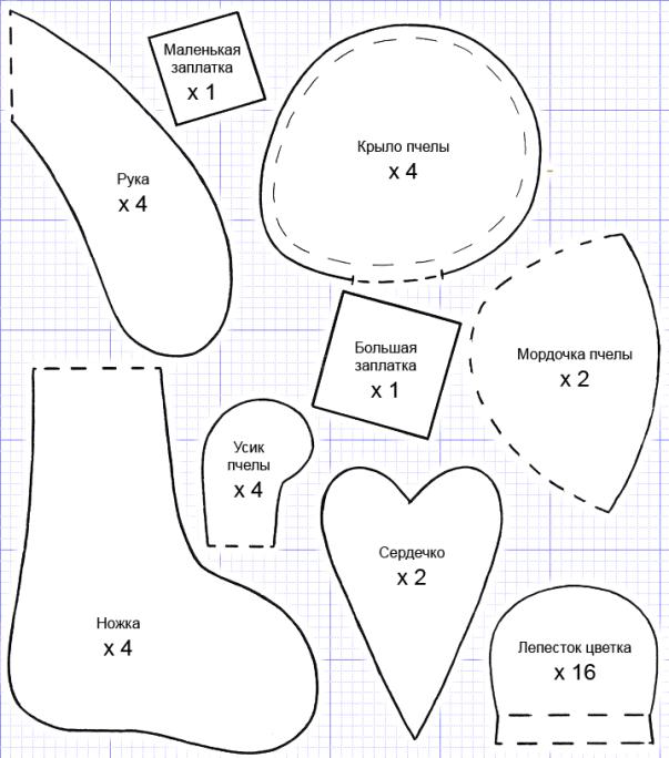Muñecas tilda, Abeja y Flor patrones (5)