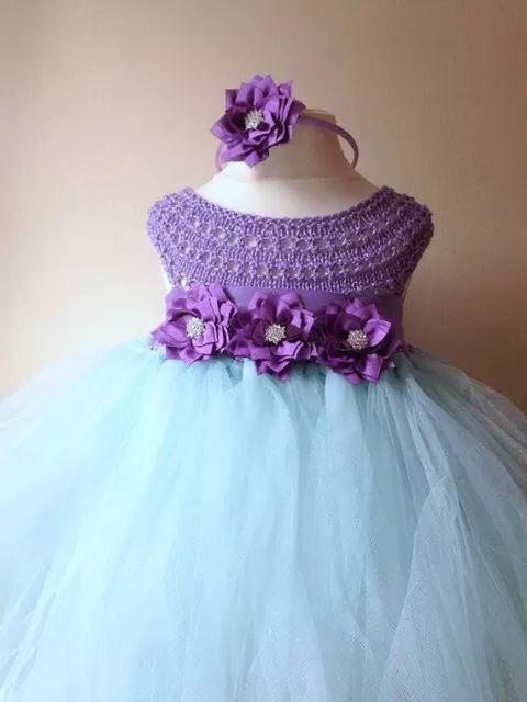 vestido crochet tul