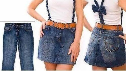 hacer una falda con un pantalon vaquero