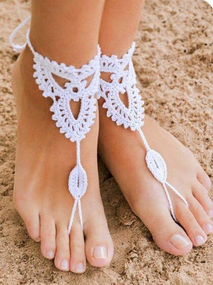 sandalias pies descalzos crochet