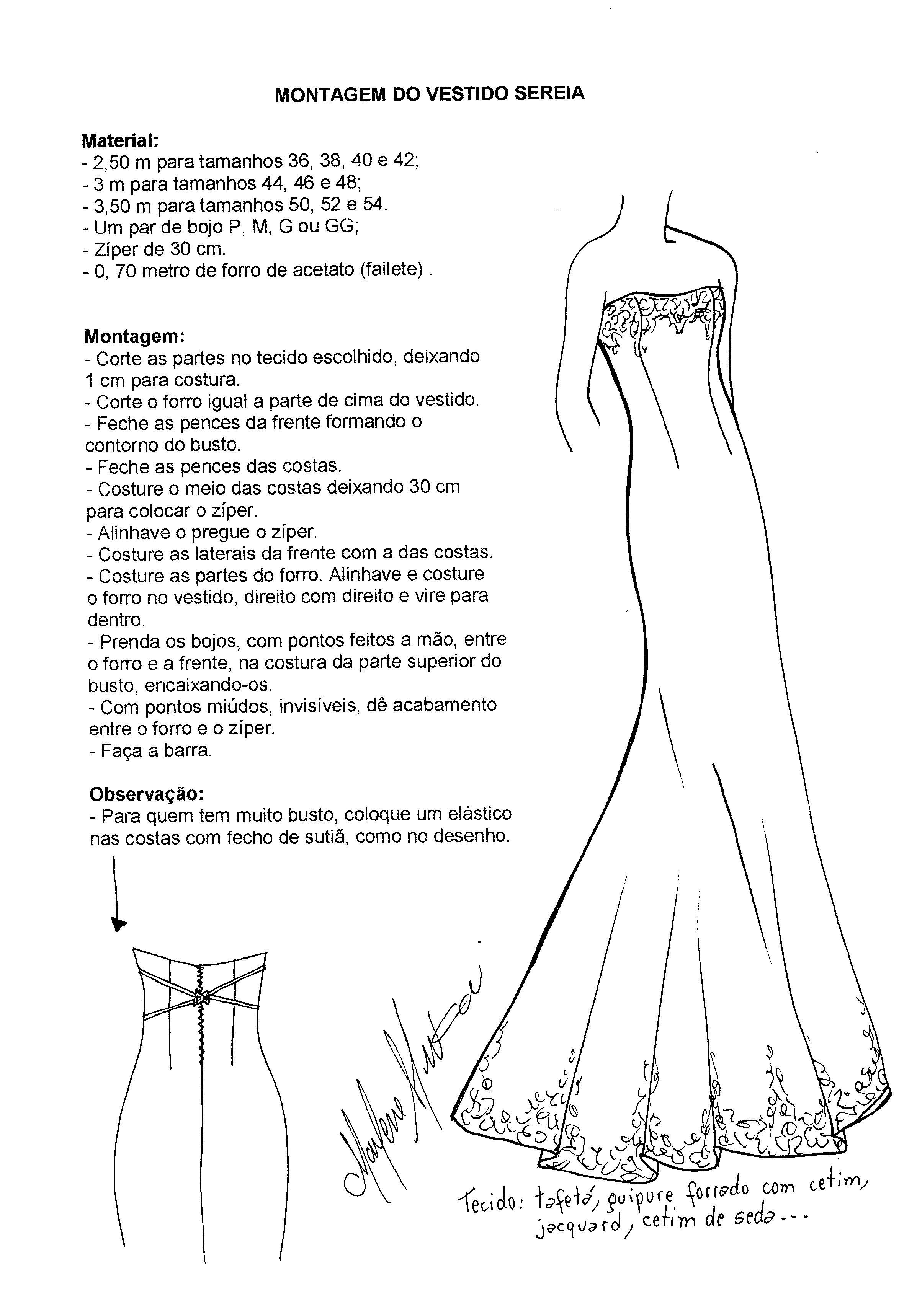 Patron vestido de novia sirena