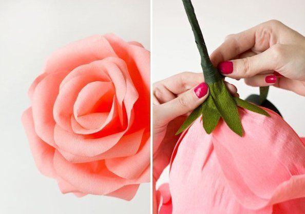 rosas gigantes crepe