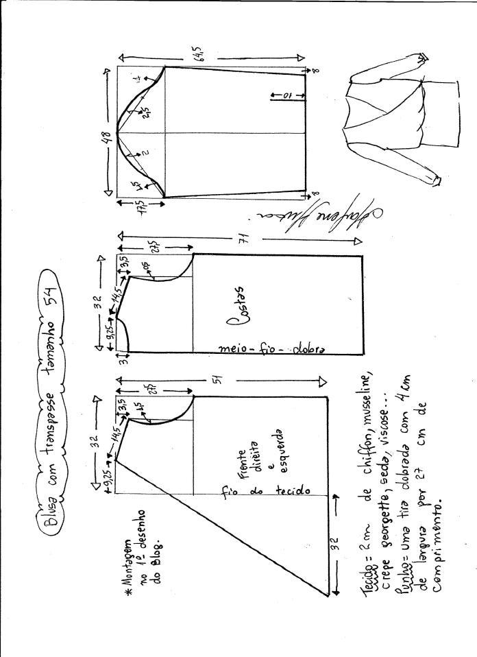 Patrón de blusa cruzada - Patrones gratis