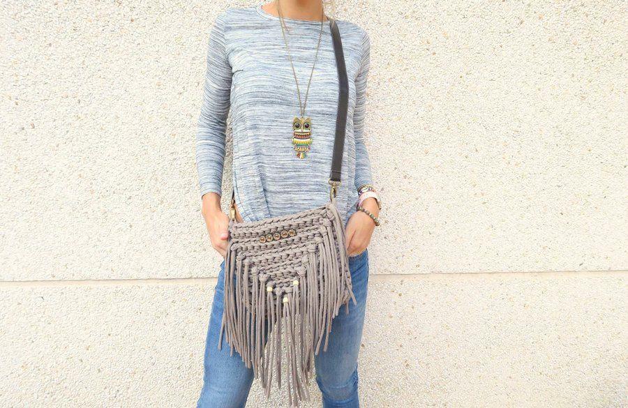 DIY Tutorial de bolso de trapillo con flecos - Patrones gratis