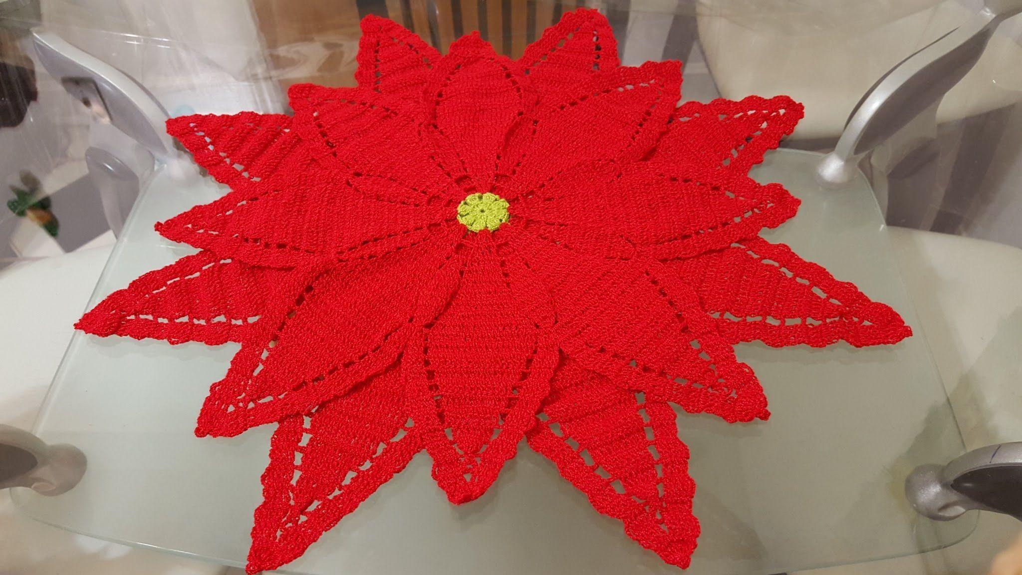 Flor en crochet para Navidad, como centro de mesa - Patrones gratis