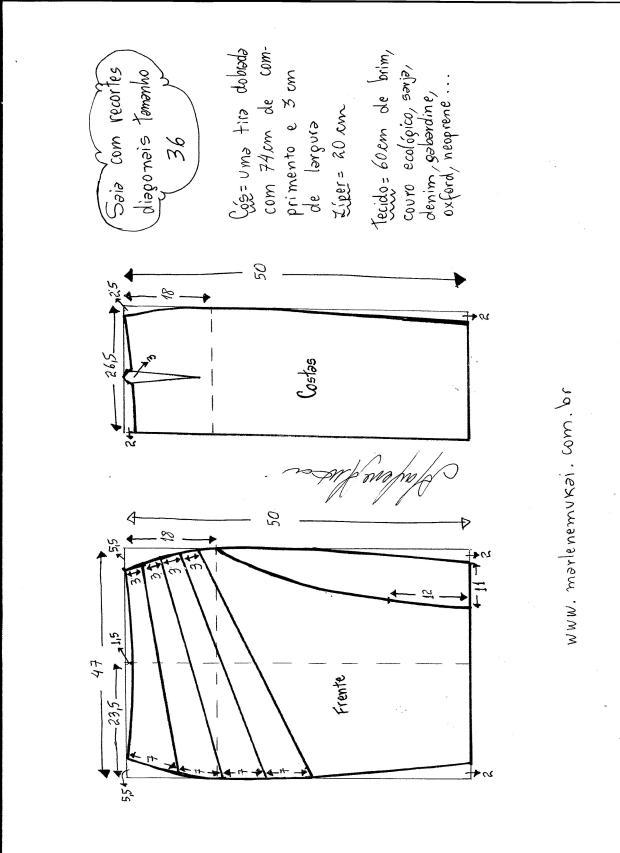 Patrón de Falda modelo clásico con corte diagonal - Patrones gratis