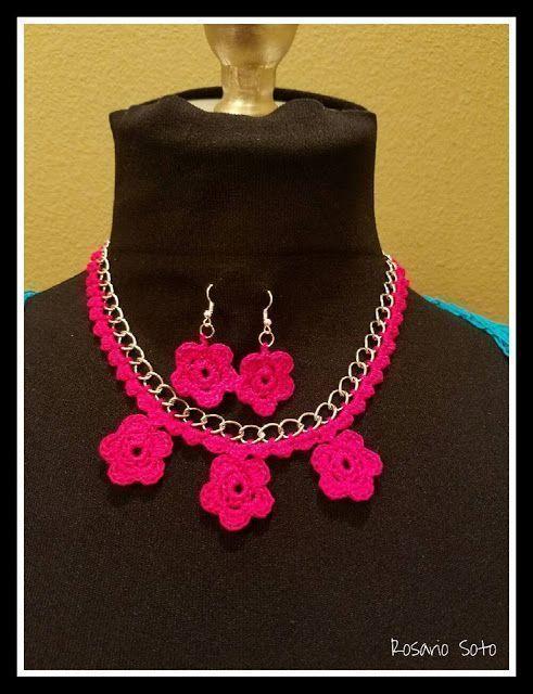DIY collar y pendientes a crochet - Patrones gratis