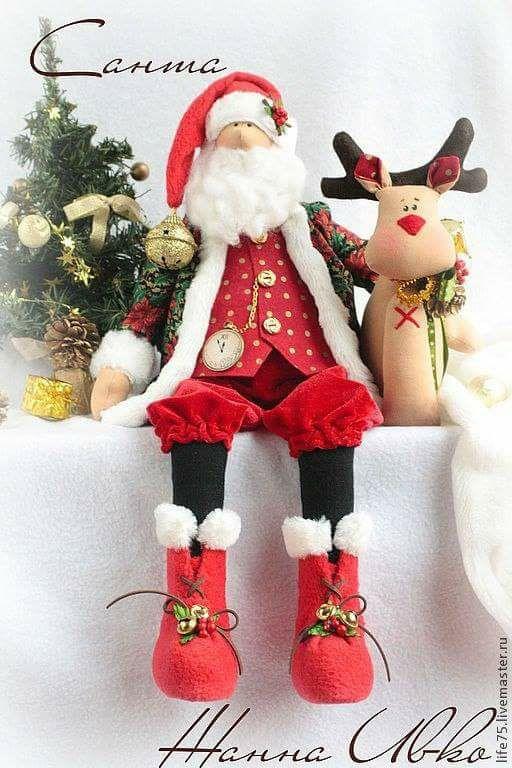 Patrón muñeco Papá Noel con reno - Patrones gratis